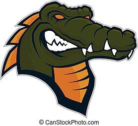 crocodile, tête, mascotte