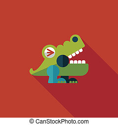 crocodile toy flat icon with long shadow, eps10