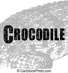 Crocodile vector, illustration, rubber stamp