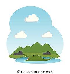 crocodile wild in the landscape