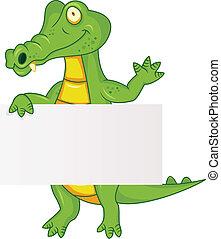 Crocodile with blank sign