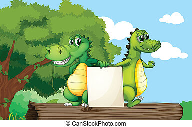Crocodiles at the top of a trunk holding an empty board