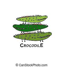 crocodiles, croquis, famille, conception, ton