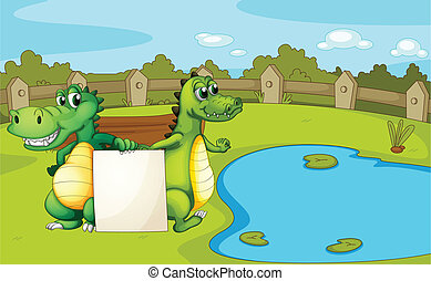 Crocodiles holding an empty banner