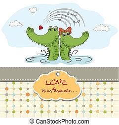 Crocodiles in love.Valentine's day