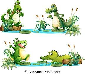 Crocodiles living in the pond illustration