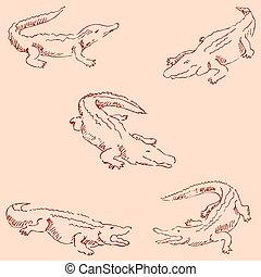 Crocodiles. Sketch pencil. Drawing by hand. Vintage colors...