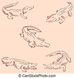Crocodiles. Sketch pencil. Drawing by hand. Vintage colors Vector