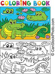 crocodilo, imagem, 2, tinja livro