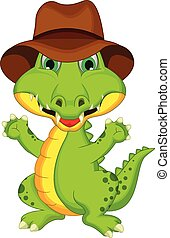 crocodilo, posar, caricatura