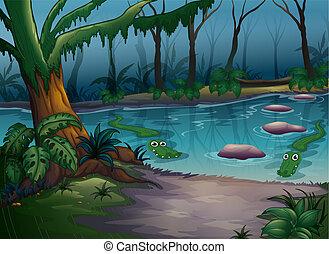 crocodilos, em, um, rio