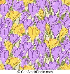 crocus seamless patterm 1 purple yellow
