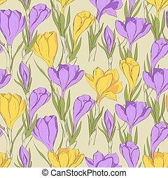 crocus seamless patterm 2 purple yellow