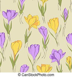 crocus seamless patterm 3 purple yellow