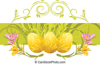 Crocuses and Easter eggs. Vector