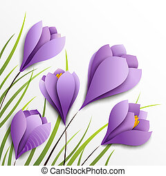 Crocuses. Five paper flowers on white background