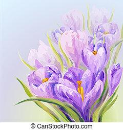 Crocuses. Spring flowers invitation