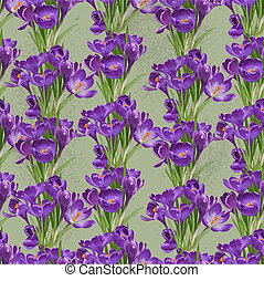 crocuses, viola, vendemmia, seamless, primavera, modello