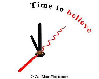 croire, horloge, temps