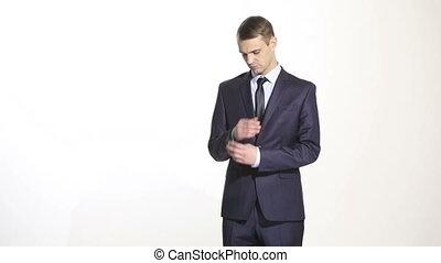 croisement, business, corps, bras, complet, geste, isolé, ...