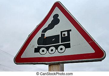 croisement, chemin fer, panneaux signalisations