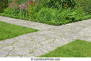 croisement, chemins, jardin pierre