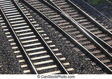 croisement, ferroviaire, pistes