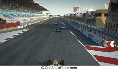 croisement, finir, racecars, ligne