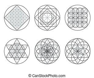 croisement, lines., sacré, geometry.