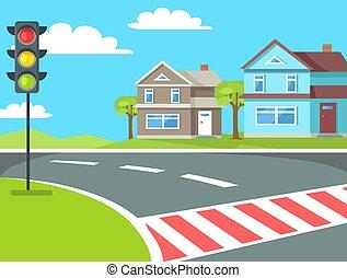 croisement, lumières, trafic, route, piéton