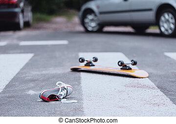 croisement, piéton, accident, trafic
