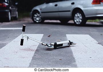 croisement, piéton, scooter