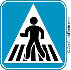 croisement, piéton, signe
