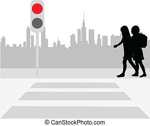 croisement, piéton, vecteur, -, illustration