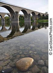 croisement, ponts, rivière