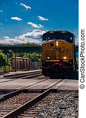 croisement, route, csx, maryland., brunswick, approchant, train