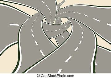 croisement, routes, enchevêtré