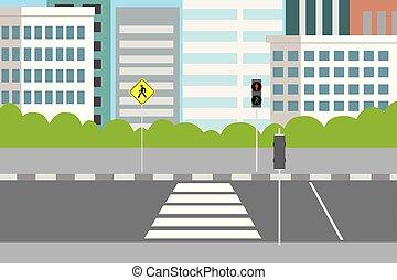 croisement, rue vide, feux circulation, ville, piéton