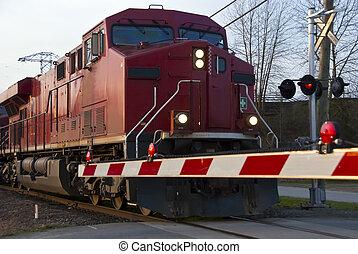 croisement, train, fret