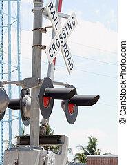 croisement, train, portail