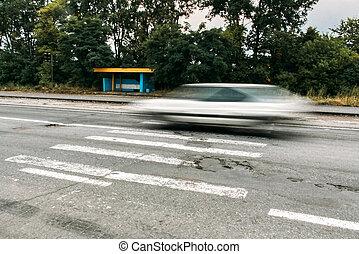 croisement, voiture, croix, piéton