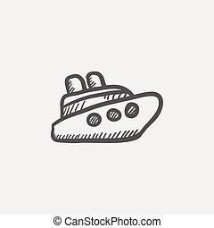 croisière bateau, croquis, icône