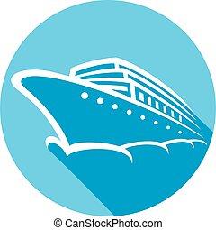 croisière bateau, icône, plat