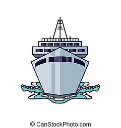 croisière bateau, voyage, bateau, icône