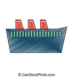 croisière bateau, voyage, maritime, dessin