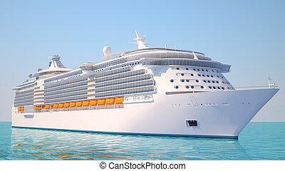croisière bateau, vue, perspective, océan
