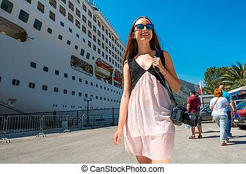 croisière, grand, femme, touriste, paquebot