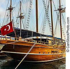 croisière, jetée, bateau, turc, voilier, coast., bois