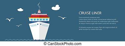 croisière, mer, bateau, bannière
