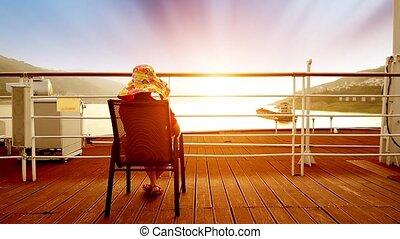 croisière, séance, femme, bateau, pont